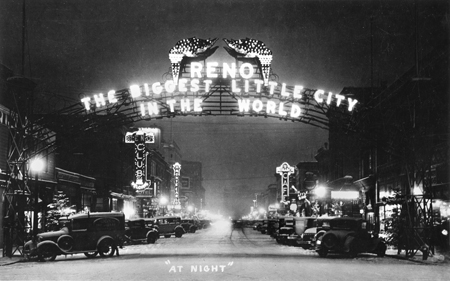 WA-08004 Reno Arch with torches, at night, Reno, Washoe County, Nevada, 1930s.
